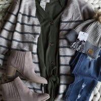 Knit Striped Cardigan, Taupe/Charcoal
