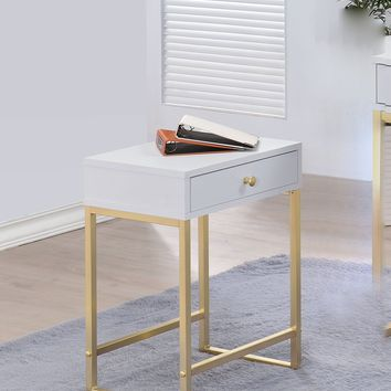Astonishing Side Table, White & Gold By ACME