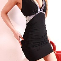 V Neck Halter Night Club Dress With Sequin 66