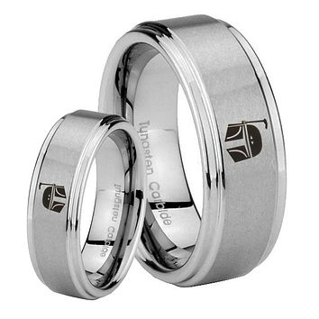His and Hers Step Edge Star Wars Boba Fett Sci Fi Science Tungsten Silver Wedding Rings Set
