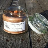 Mahogany & Teakwood Crackling Timber Wood Wick Soy Candle