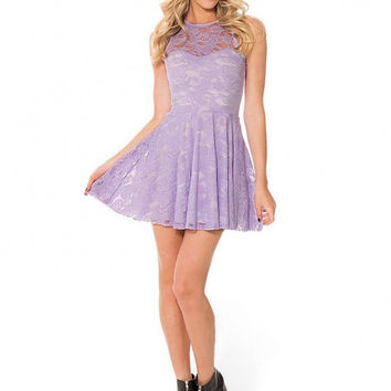 Lace Skater Dress In Purple