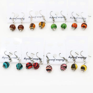 15Pairs Mixed Colored Painting Wood Bead Earrings Dangle Eardrop Handmade Fashion Jewelry