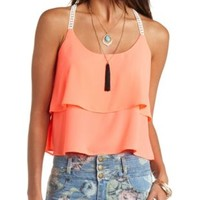 Crochet-Strap Layered Swing Tank Top by Charlotte Russe - Fiery Coral