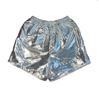 Silver High Waist Shorts Sea Punk Mirror Shiny Reflective Cyber Futuristic Barbarella Space