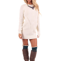 Cream Cable Knit Sweater Dress