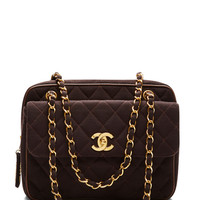 Chanel Brown Jeresy Flap Zip Bag by What Goes Around Comes Around - Moda Operandi