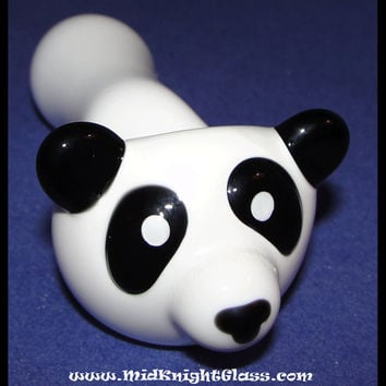 Panda Bear Glass Pipe Black and White Spoon Style Smoking Bowl Hand Blown in Oregon USA by J. Knight of MidKnightGlass.com Online Smokeshop