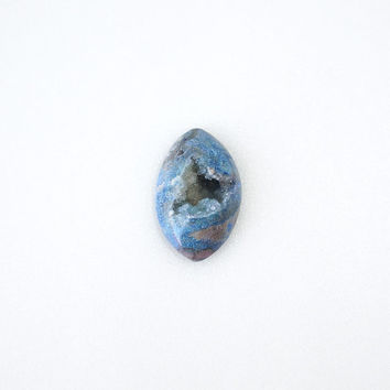 Persian Blue Druzy Gemstone Cabochon, Undrilled 21x34mm Geode Crystal, Gemstone Supply