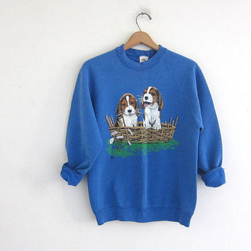 Vintage blue puppies  novelty sweatshirt // Dog sweatshirt