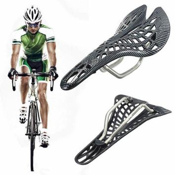 DCCKH0D 45*135*280mm Comfortable Carbon Fiber Mountain Racing Bike Cycling Bicycle Hollow Saddle Seat Bicycle Accessories #E0