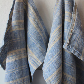 Linen Tea towel set of 2 Soft 100pct Linen Dish Towel Pure linen blue milk/white striped Tea Towel Pre-washed softened Flax Towels Gift idea