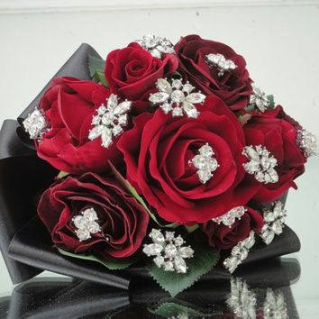 Red, Black pearl velvet rose vintage white rhinestone Wedding Bridal Brooch Bouquet