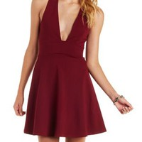 Burgundy Plunging Skater Dress by Charlotte Russe
