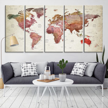 54617 - Large Wall Art World Map Canvas Print- Custom World Map Push Pin Wall Art- Custom World Map Canvas Poster Print- Personalized Wall Art