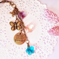 Never Never Give Up Crystal Flowers Planner Charm, Bag Charm, Zippper Pull Charm, Keyring Charm