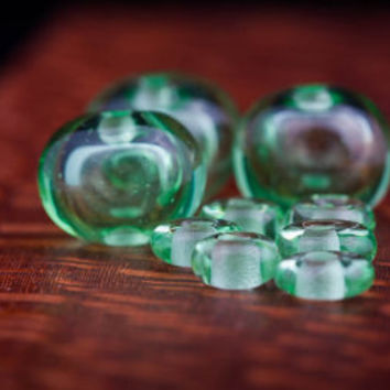 Hollow Lampwork Glass Bead Set in Pale Emerald Green