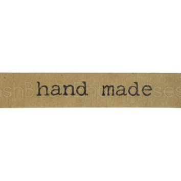 "144 CleverDelights ""Hand Made"" Stickers - Kraft Banner Design - Kraft Paper Stickers - 2 3/4"" Width 1/2"" Tall - For Gift Tags, Goodie Bags, Scrapbooking, Gift Wrap, Baked Goods, Card Making, Presents, Embellishments and More! - Kraft Paper Handmade Labels"