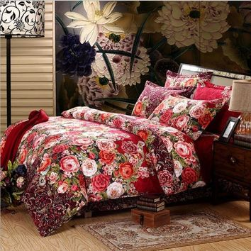 Luxury 3D Duvets Cover Printed Bedding Set bed sheet Pillowcase 4pcs bedspread queen size cotton double bed linen Best Gift