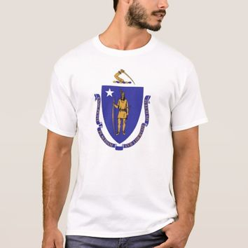 T Shirt with Flag of Massachusetts State USA