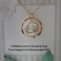 Gold Necklace, Gold Eternity Necklace, Pearl Necklace, Gift for Mom, Mother of the Bride Gift, Christmas Gift, Mothers Message Card
