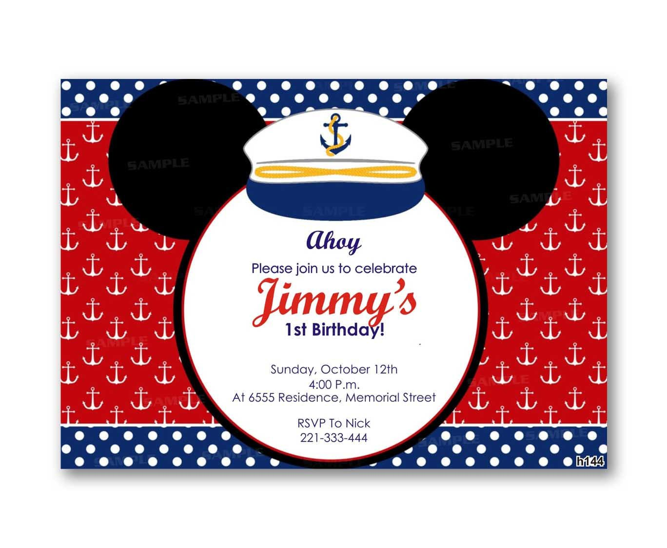 Nautical Mickey Mouse Kid Birthday from uinvites.com