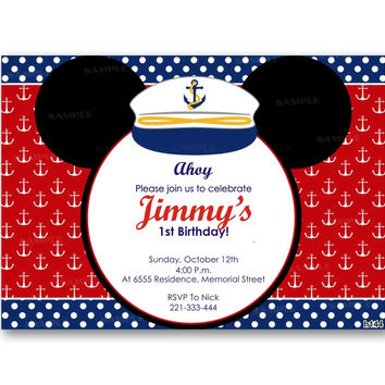 Nautical Mickey Mouse Kid Birthday Invitation Party Design