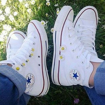 LMFUG7 Converse All Star Sneakers canvas shoes for Unisex sports shoes High-top white