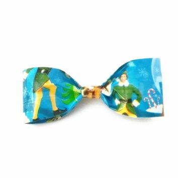 Blue Clip-On Bow Tie, Buddy The Elf Christmas Bowtie, Stocking Stuffer