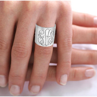 Personalized Monogrammed Ring (Order Any Name) - Sterling Silver