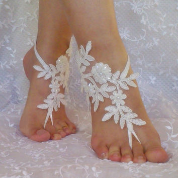 bridal anklet, ivory Beach wedding barefoot sandals, free ship, bangle, wedding anklet, anklet, bridal, wedding, beaded