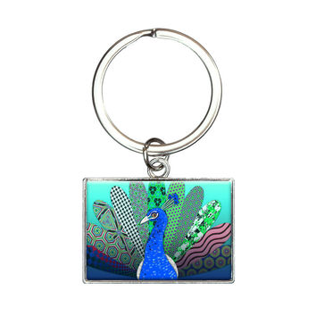 Plentiful Patterned Peacock Rectangle Keychain