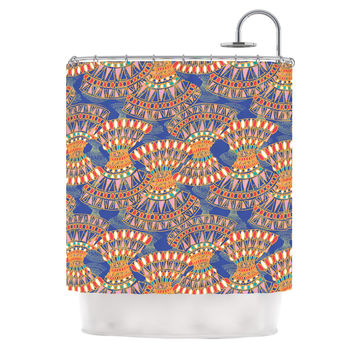 "Miranda Mol ""Energy"" Orange Blue Abstract Shower Curtain"