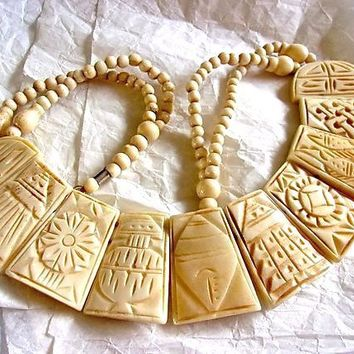 Ox Bone Carved Panel Bib Necklace, Beaded, Artisan Made, Tibetan Vintage