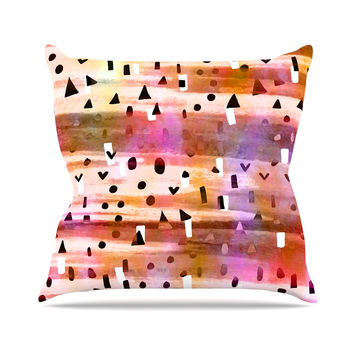 "Ebi Emporium ""Geo Party - Pink"" Multicolor Painting Throw Pillow"