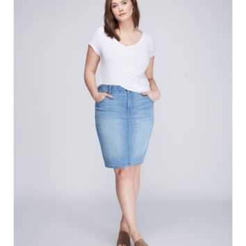 5-Pocket Denim Pencil Skirt with T3 Tighter Tummy Tecnology | Lane Bryant
