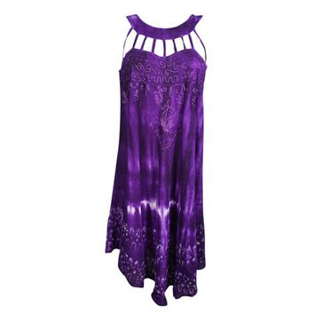 Mogul Womens Tie Dye Purple Sundress Floral Embroidered Sleeveless Flare Summer Fashion Hippie Chic Tank Dresses - Walmart.com