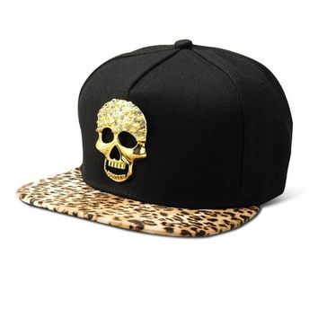 Sports Hat Cap trendy  Bling Diamond Ghost Cotton Snapback Hats Men Women Gorras Golden Skull Head Baseball Caps Sports Crystal hip hop hat KO_16_1