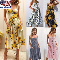 Plus Size Women Boho Floral Long Maxi Dress Evening Party Beach Sleeveless Dress