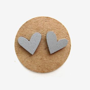 Large Wooden Gray Heart Earrings, Heart Jewelry, Wooden Earrings, Grey Earrings, Gray Hearts,Heart Studs, Nickel-Free Studs, Fall Jewelry