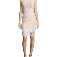 Jovani Cap-Sleeve Sequined Lace Cocktail Dress, White/nude