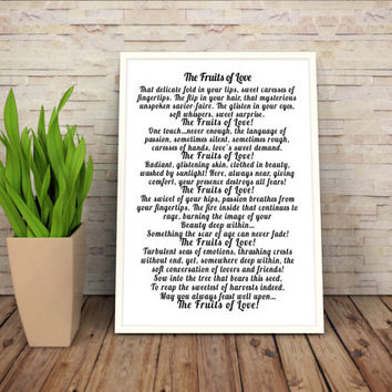 Romantic Love Poem Gift, Love Poem Wall Art Gift, Minimalist Romantic Wall Art, Wife Wall Art Gift, Girlfriend Wall Art Gift, Romantic Decor