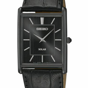 Seiko Solar Classic Mens Watch - Black Ion Plated - Black Dial & Leather Strap