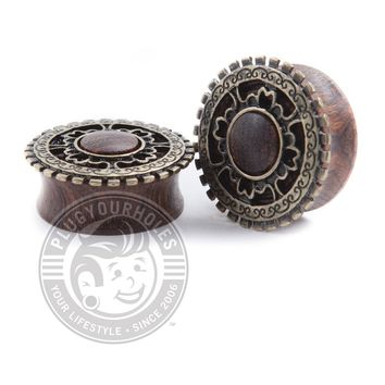 Antique Tribal Shield Wood Plugs