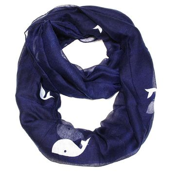Nautical Blue Whale Print Infinity Scarf