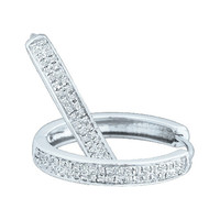 Round Diamond Ladies Fashion Hoops Earrings in 10k White Gold 0.25 ctw