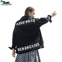Women black Denim Locomotive basic jacket Patchwork Corduroy Casual Plus Size Loose Long-Sleeve Single Breasted  jacket QW125