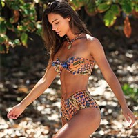 2018 new ladies split swimsuit seersucker print tie high waist bikini