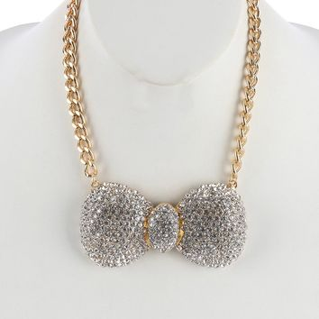Clear Pave Crystal Stone Metal Bow Bib Necklace