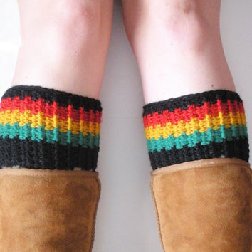 Chunky Crochet Rasta Boot Cuffs in Red, Gold, Green and Black, ready to ship. $20.00
